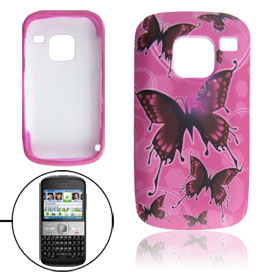 Butterfly Pattern Fuchsia Soft Plastic Cover Case for Nokia E5