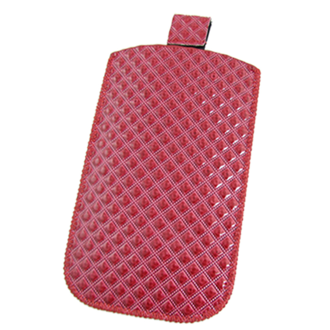 Red Faux Leather Checker Textured Pull Up Pouch for iPhone 4 4G