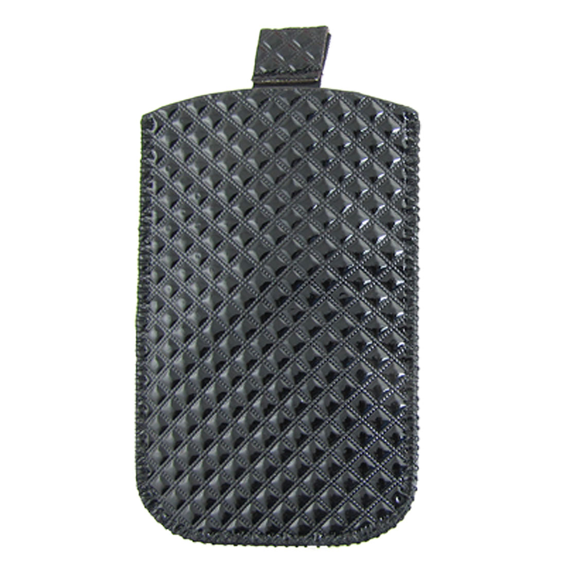 Grid Textured Black Faux Leather Pull Up Pouch for iPhone 4 4G