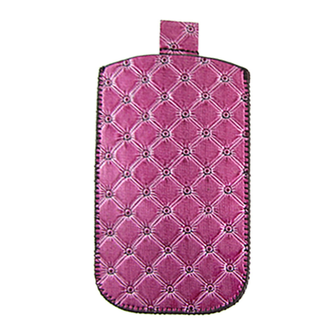 Stitching Rim Grid Texture Purple Faux Leather Pull Up Pouch for iPhone 4 4G