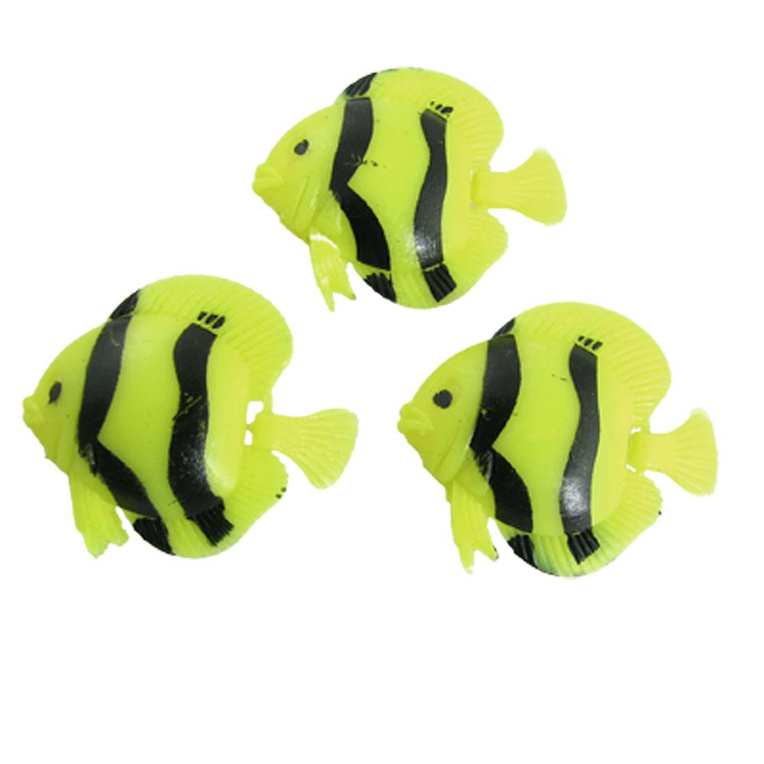 3Pcs Tank Aquarium Yellow Black Plastic Floating Fish Decoration