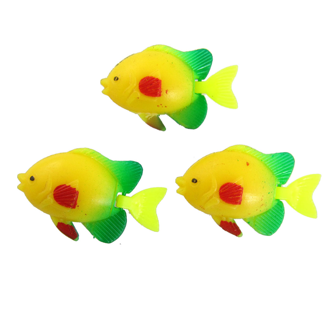 3Pcs Aquarium Tank Green Yellow Floating Mini Fish Ornament