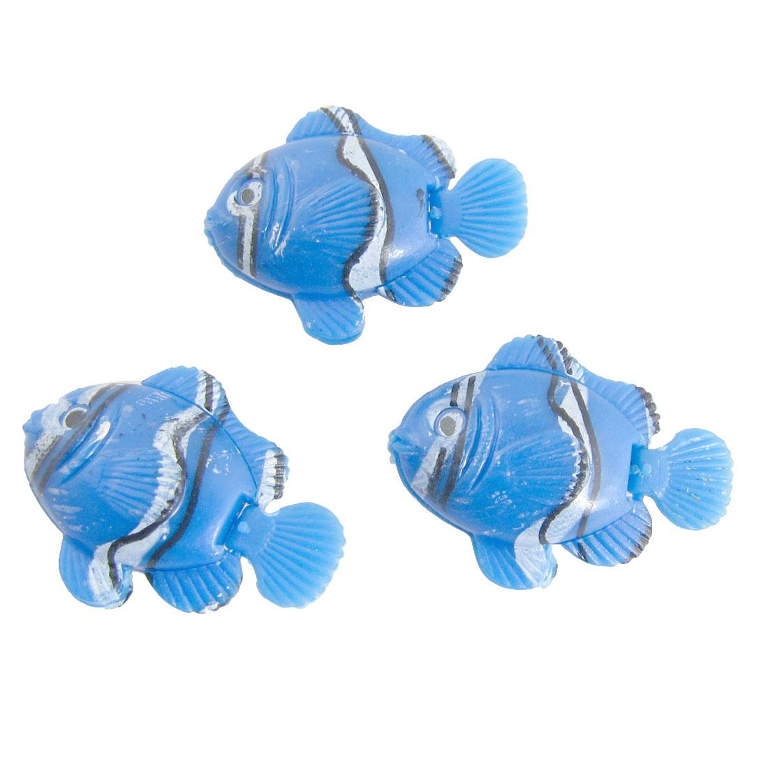 3 Pcs Aquarium Aquascape Blue Decorative Plastic Mini Fish