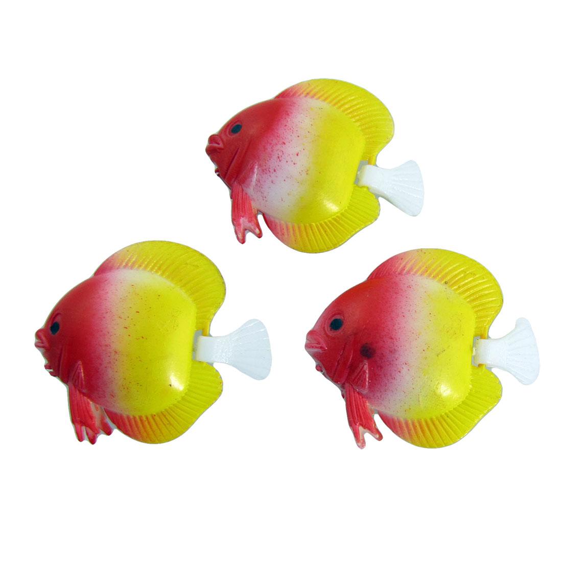 Aquarium Yellow Red Wiggle Tail Mini Fish Decoration 3Pcs
