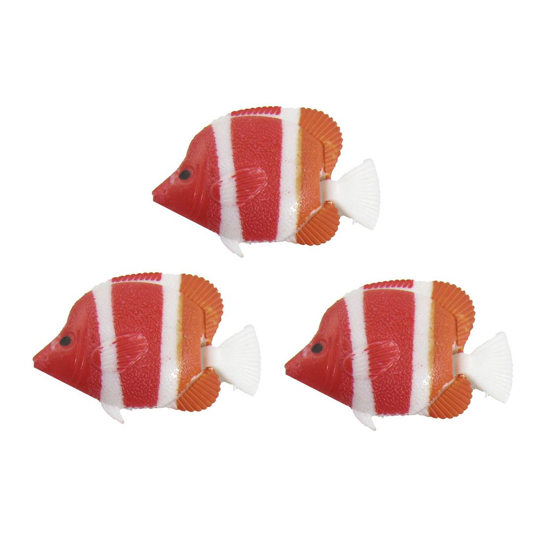 3 Pcs Wiggling Tail Colored Plastic Fish Ornament for Aquarium