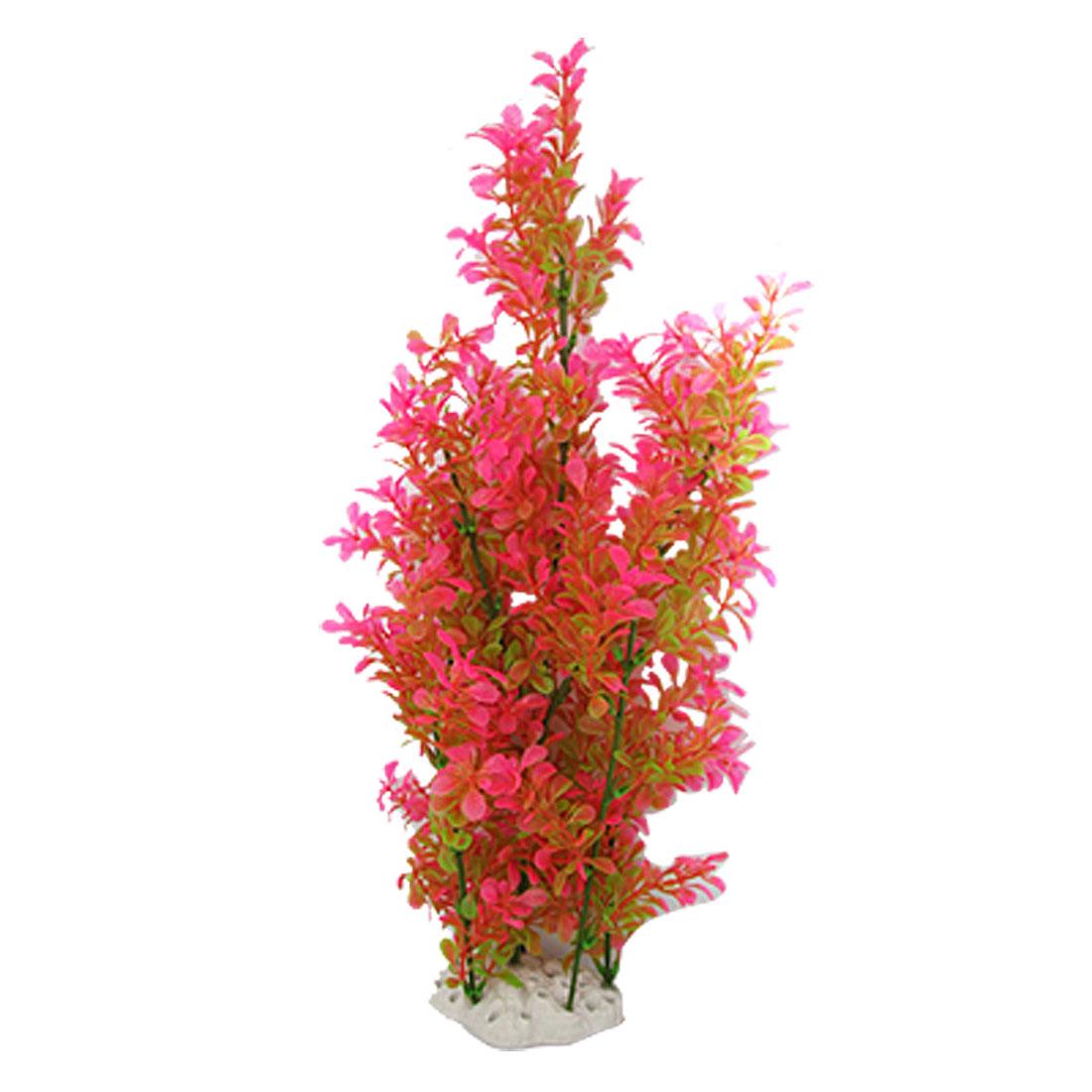 Manmade Hot Pink Green Fish Tank Aquarium Ornament w Ceramic Base