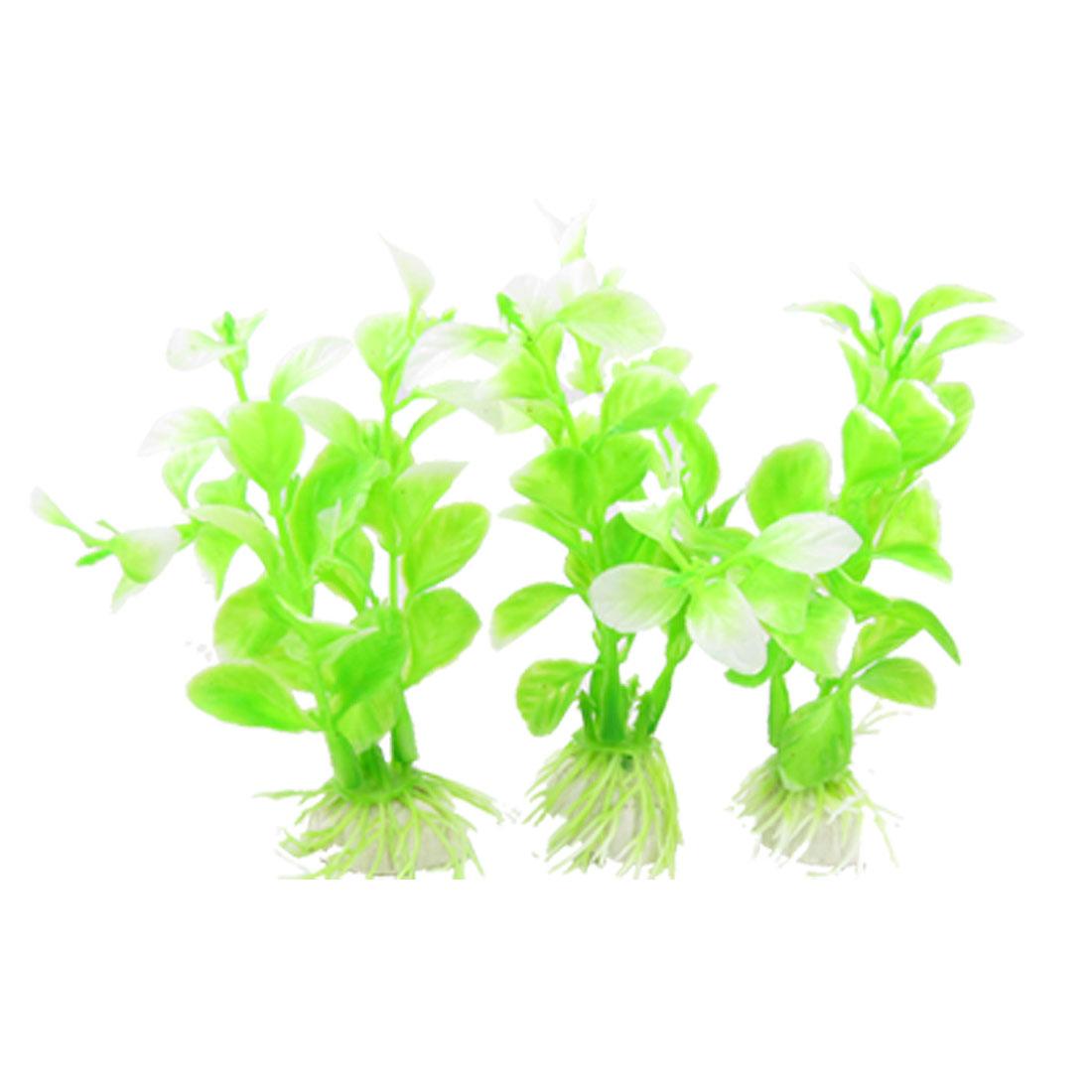 3Pcs Light Green Oval Leaves Plastic Plant Ornament for Aquarium