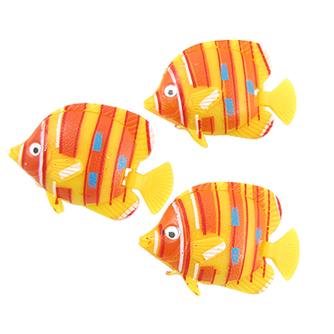 Aquarium Yellow Orange Plastic Tropical Fish Ornament 3 Pcs