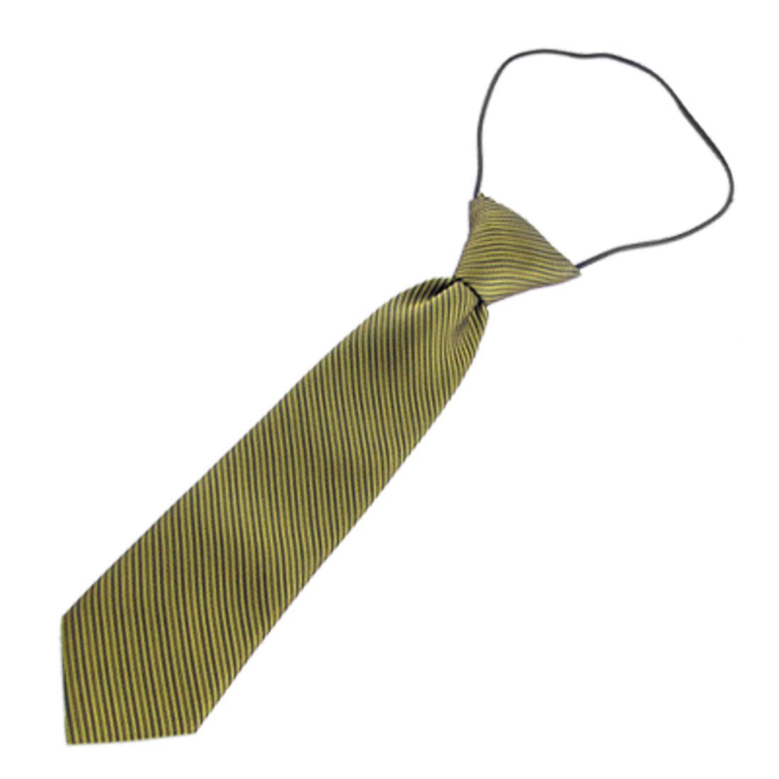 Children Yellow Black Pinstripe Pre Tied Elastic Necktie