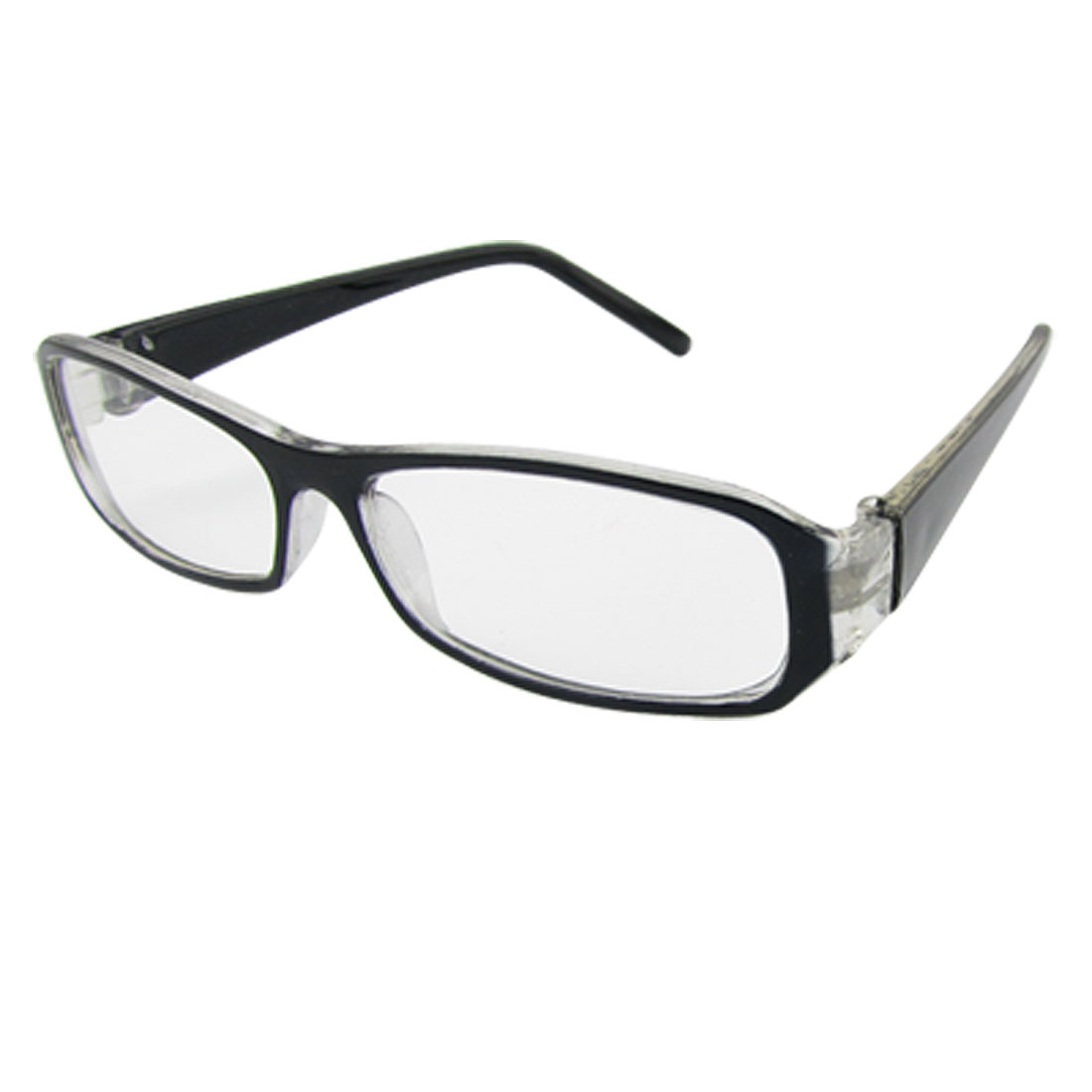 Unisex Full Rim Black Clear Plastic Plain Glass Spectacles