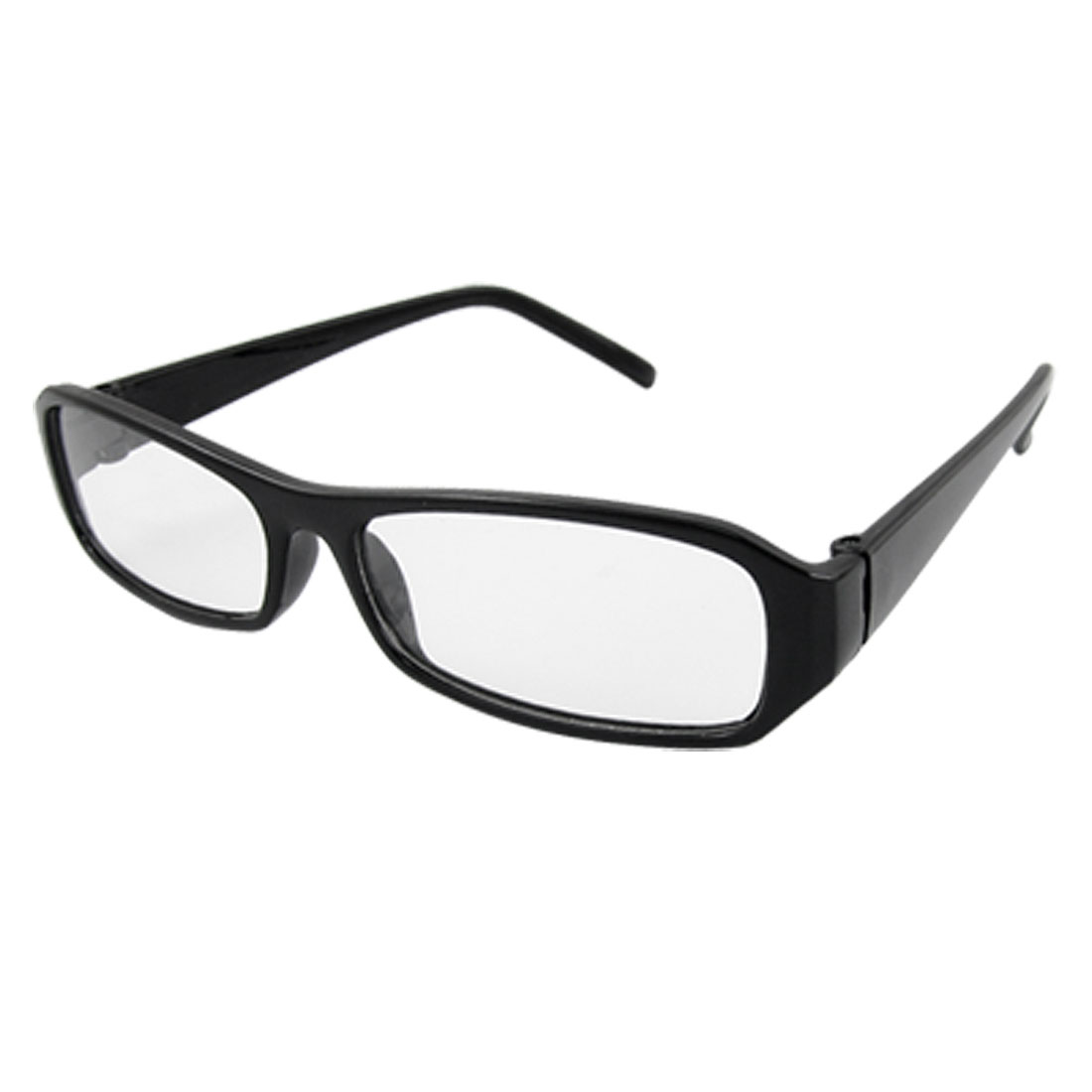 Unisex Full Rim Black Plastic Plain Glass Spectacles