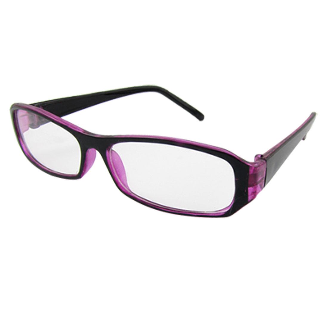 Ladies Black Purple Plastic Rectangle Frame Plain Glass Spectacles
