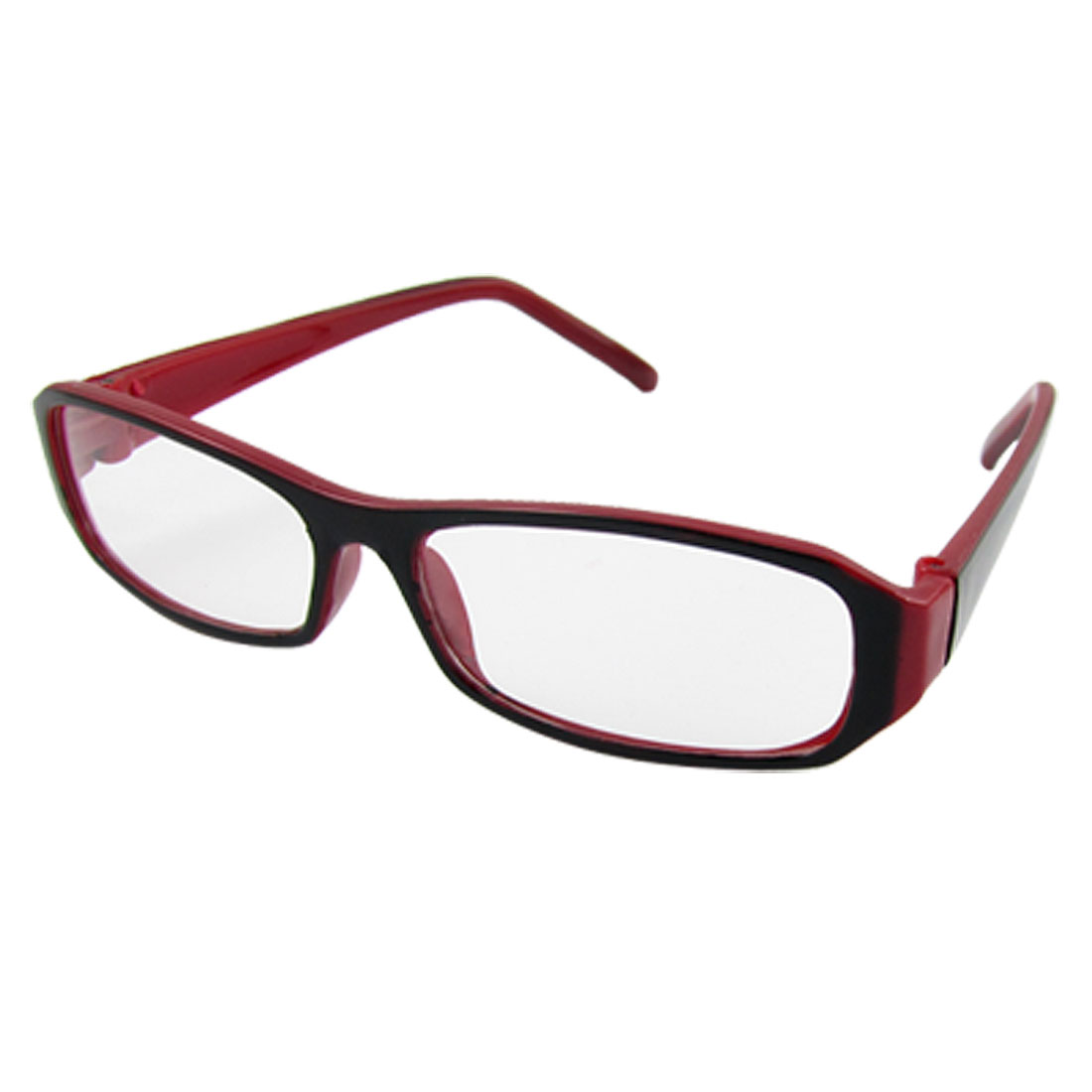 Ladies Black Red Rectangular Plastic Frame Plain Glasses