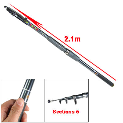 Slate Gray 5 Sections Metal 2.1m Fishing Rod Pole