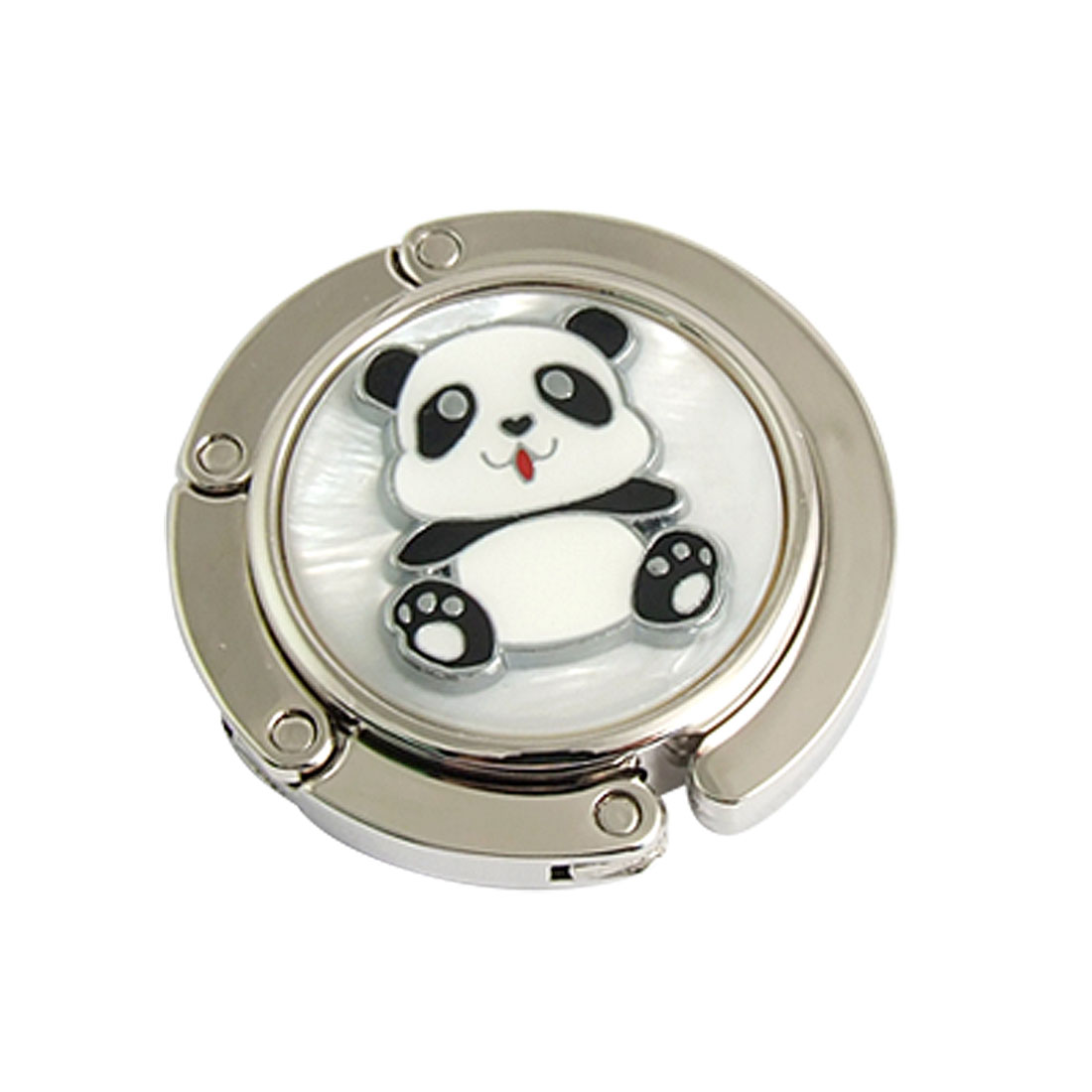Panda Detail Rhinestone Inlay Round Folding Purse Wallet Hanger