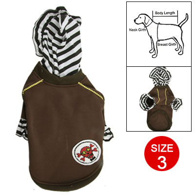 Black White Striped Cuff Warm Hoodie Clothes Apparel 3 for Dog