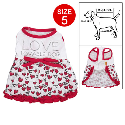 Dog Pet Sleeveless Round Neck Red Hem Heart Print Dress Sz 5
