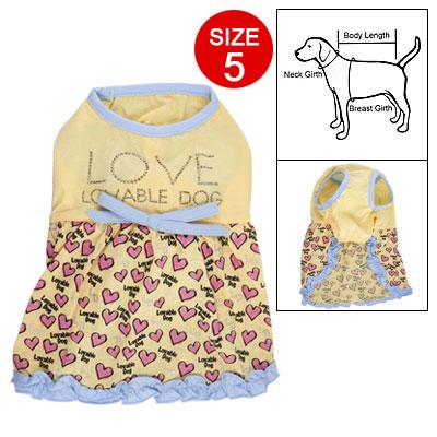 Summer Dog Pink Heart Print Yellow Pullover Tank Dress Sz 5