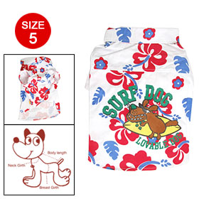 Size 5 Dog Flroal Button Up White Point Collar Shirt Apparel