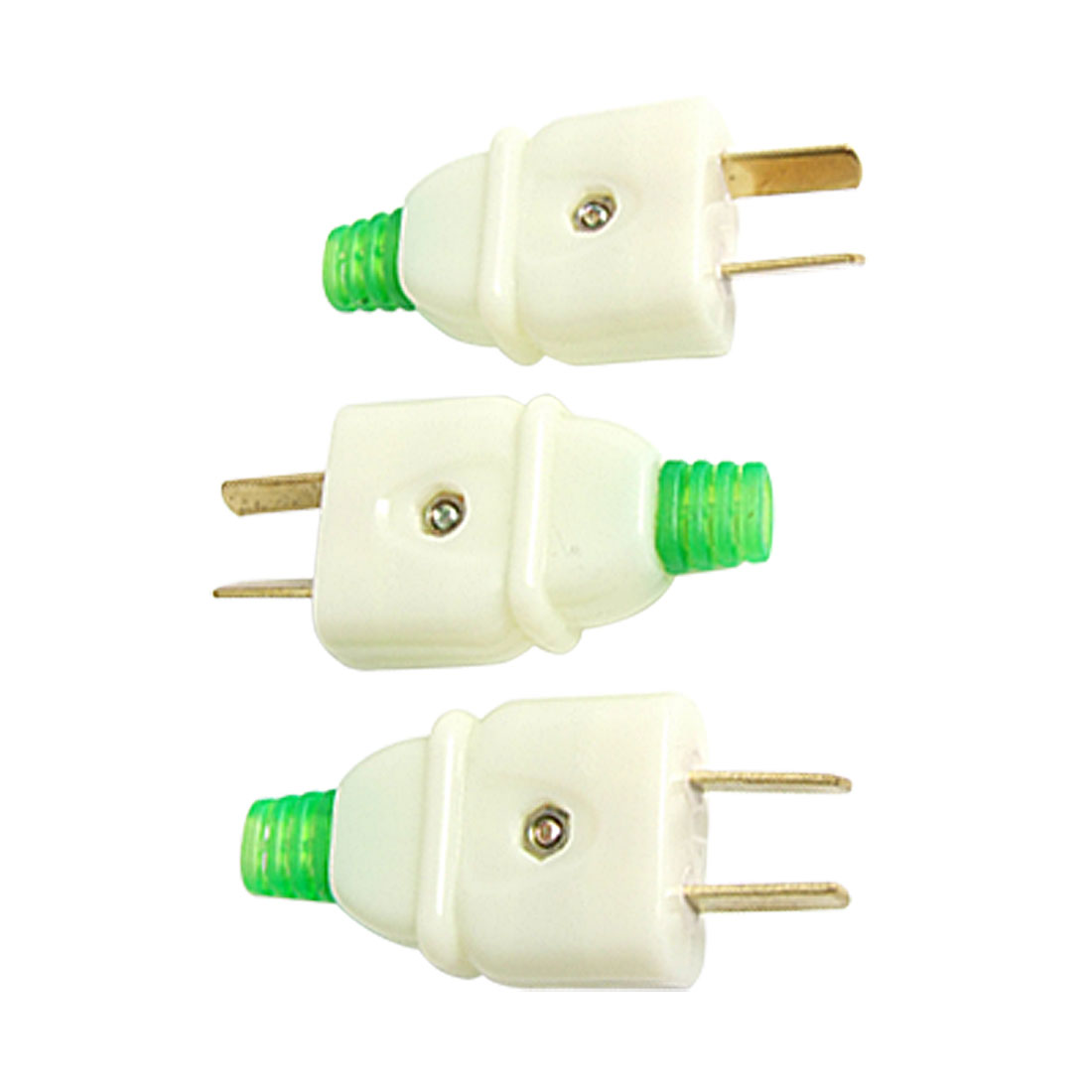 3 x Off White Plastic Shell 2 Pin Power Cable Connector US AU Plug AC 250V 16A