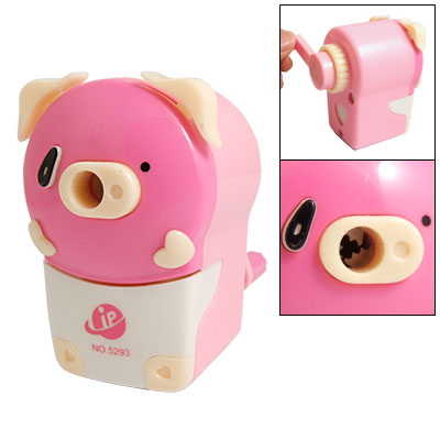 Pink Cartoon Pig Shape Hand Rotating Manual Pencil Sharpener