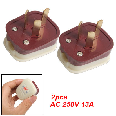 AU Plug AC 250V 13A 3 Pin Power Adapter Connector 2 Pcs