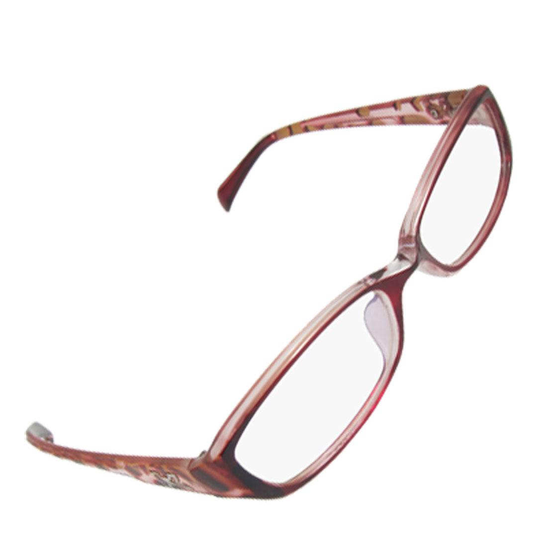 Dark Red Leopard Pattern Full Frame Plano Glasses for Lady