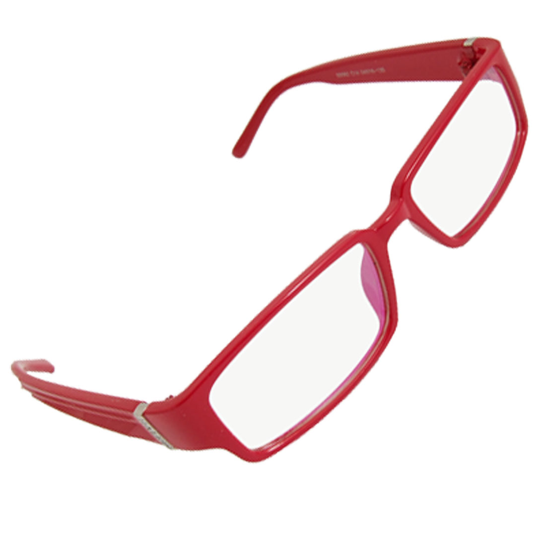 Ladies Red Full Frame Textured Arm Clear Lens Glasses