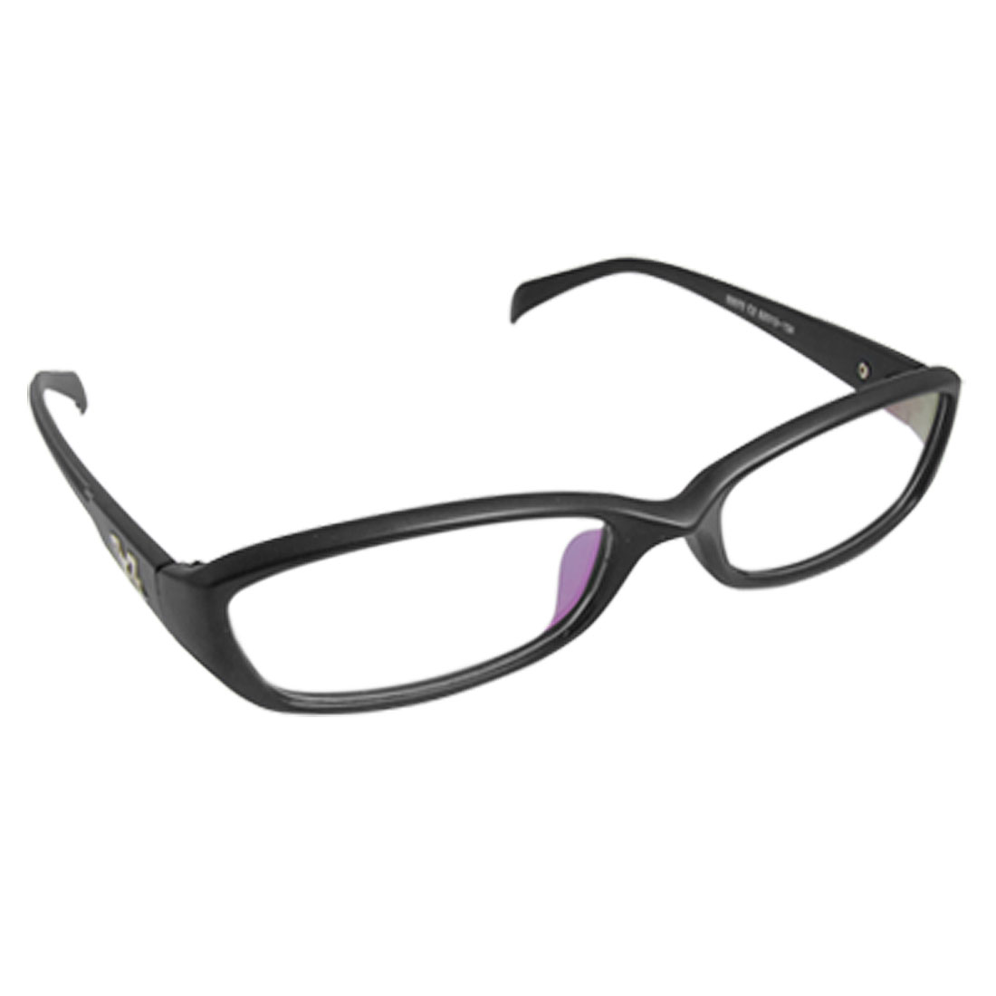 Metal Decor Rectangular Lens Black Full Rim Plain Glasses for Lady