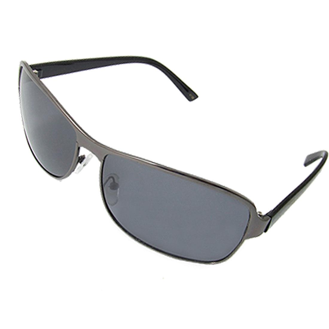Lady Men Black Plastic Arms Full Rim Polarized Sunglasses