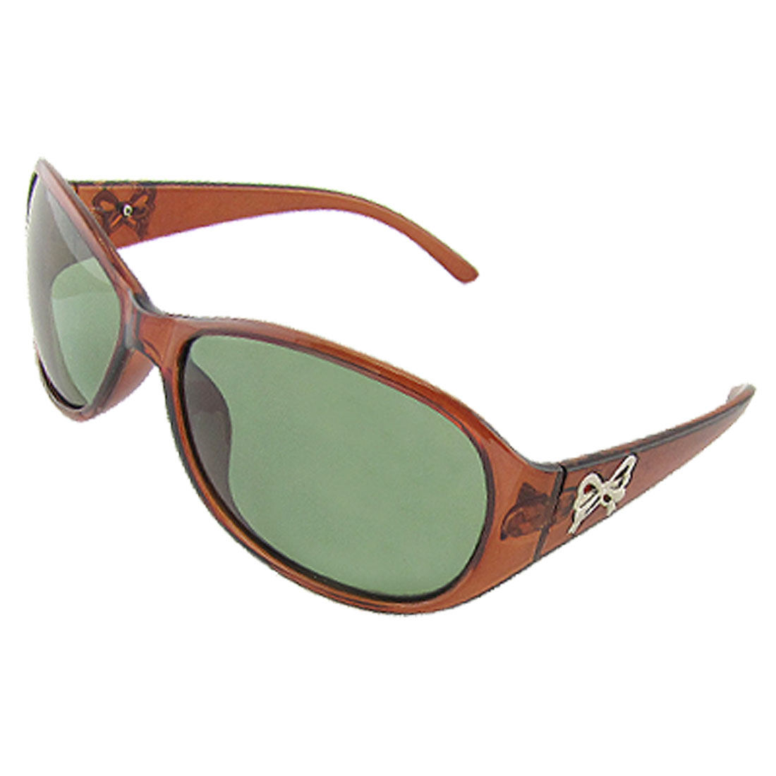 Lady Bowtie Detail Temple Brown Oval Lens Polarized Sunglasses