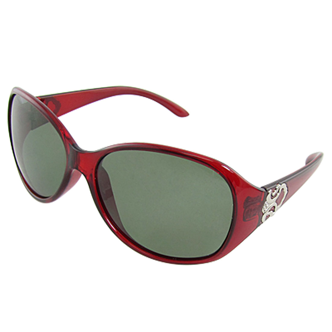 Full Rim Plastic Burgundy Polarized Sunglasses for Lady