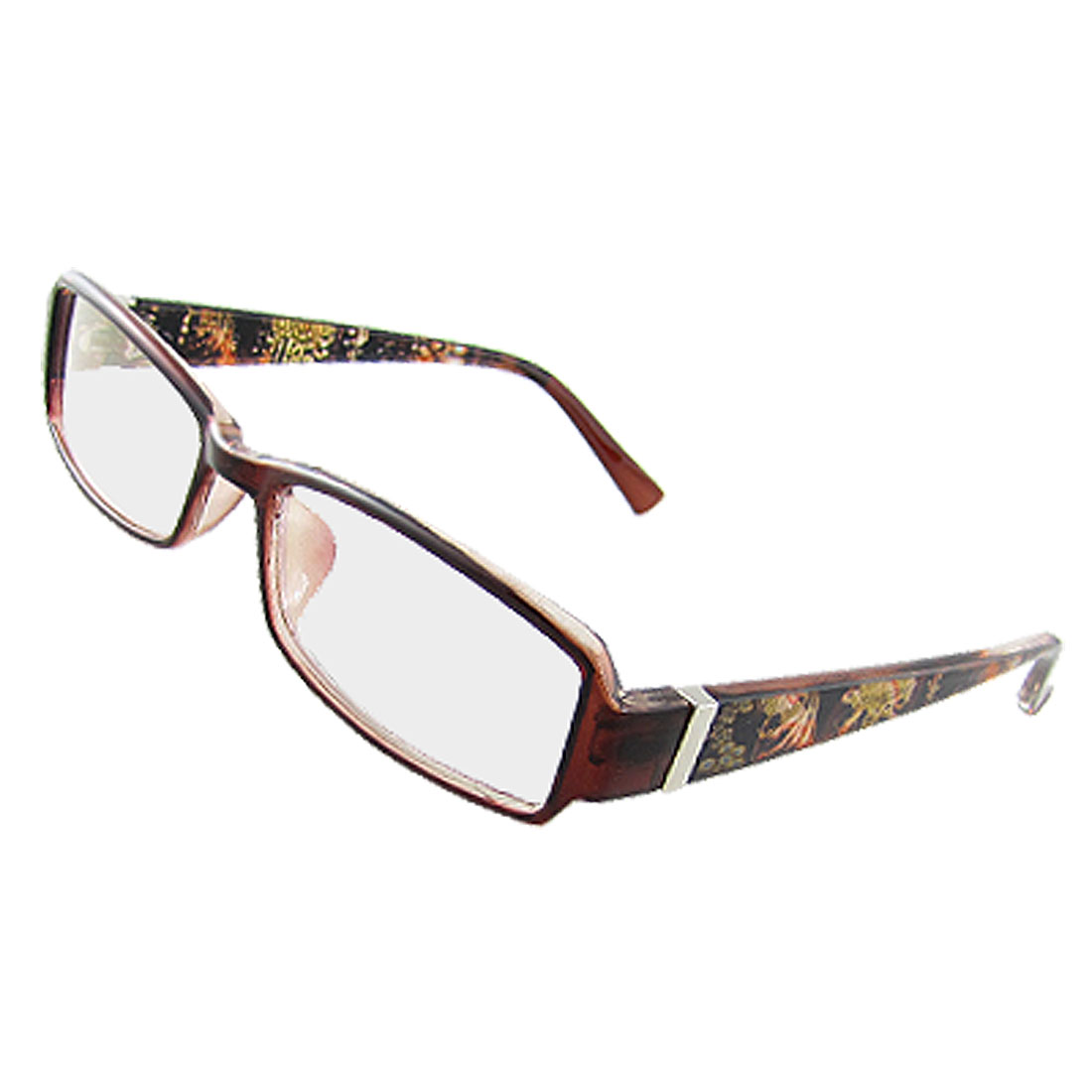 Floral Accent Hinged Arms Multi Coated Lens Lady Plain Glasses