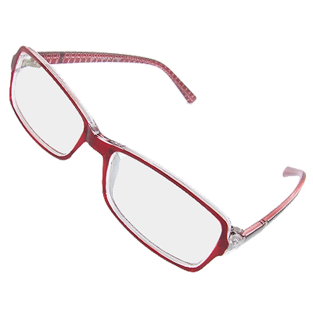 Ladies Dark Red Plastic Full Rim Multi Coated Lens Plano Glasses