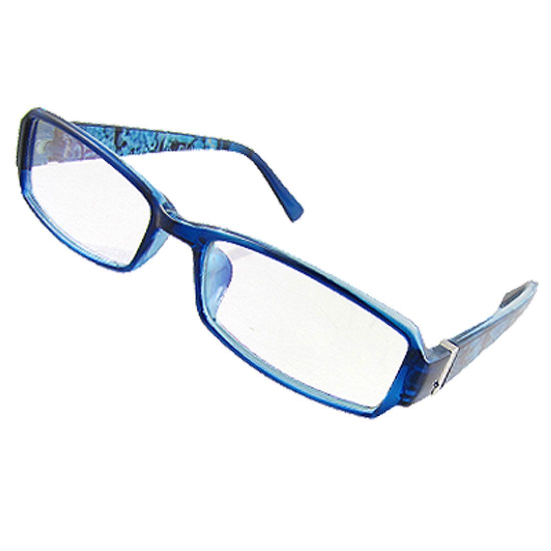 Woman Blue Hinged Plastic Arms Multi Coated Lens Plain Glasses