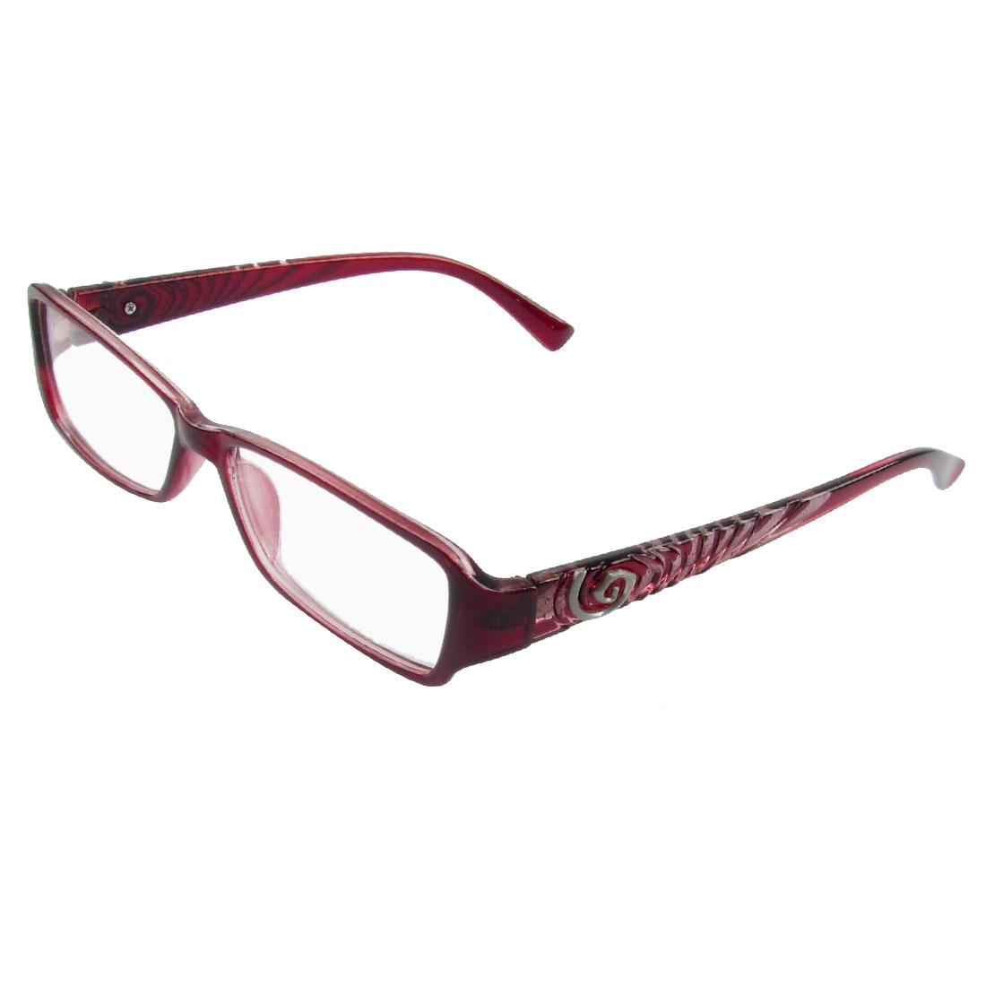 Sangria Plastic Full Frame Spiral Decor Arms Plano Glasses for Ladies