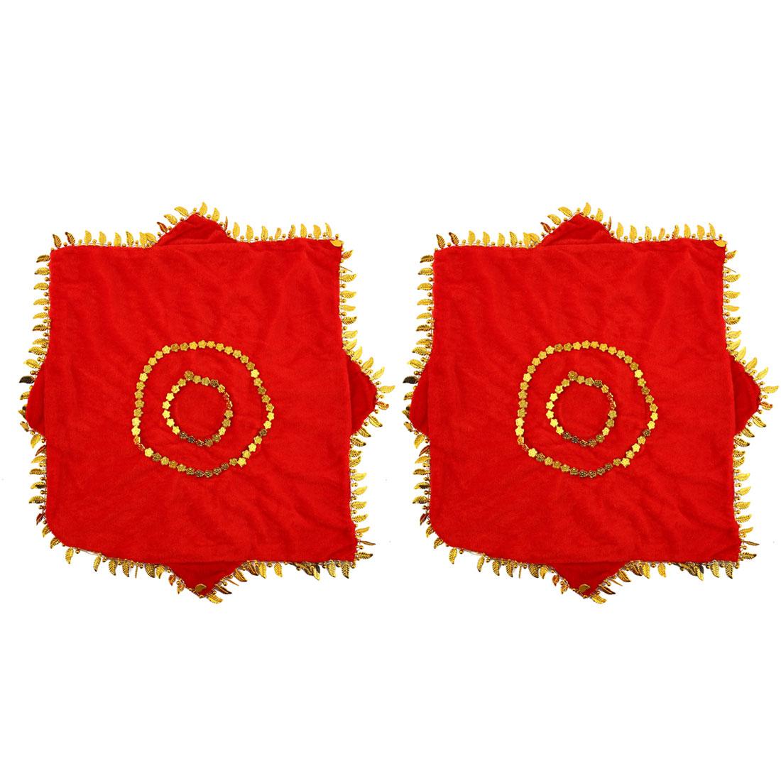 Octagon Shaped Leaves Hem Decor Dance Dancing Handkerchief Red 2 Pcs