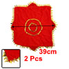 2 Pcs Gold Tone Leaves Hem Decor Red Dancing Handkerchief