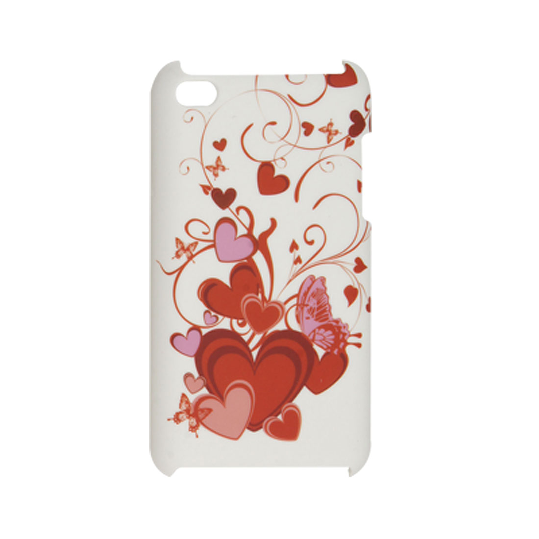 Red Heart Prints White Hard Plastic Back Case for iPod Touch 4G