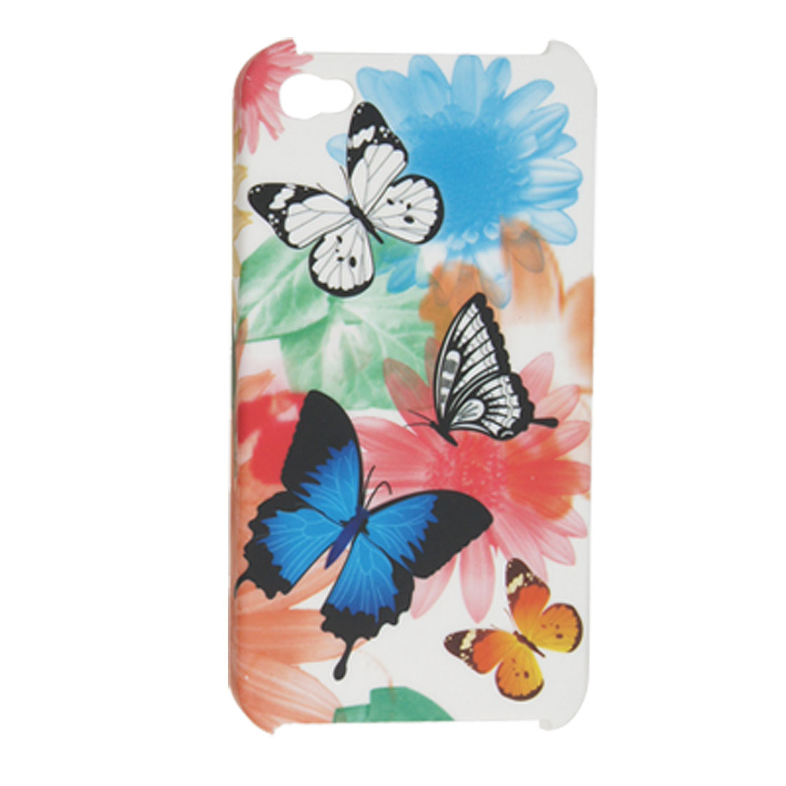 Colorful Butterfly Print Rubberized Plastic Back Cover for iPhone 4 4G