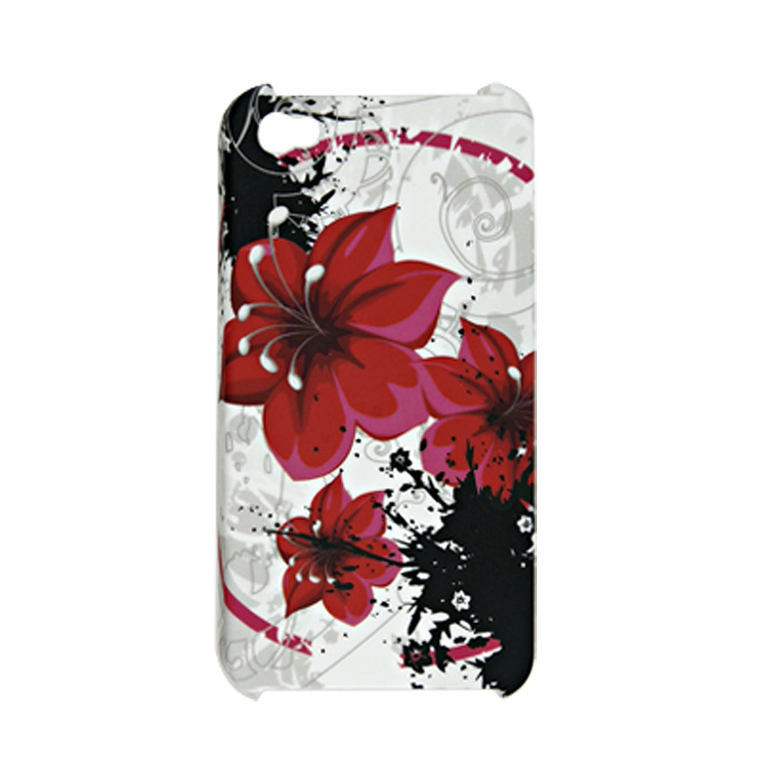 Fuchsia Red Flowers Rubberized Plastic Back Cover for iPhone 4 4G