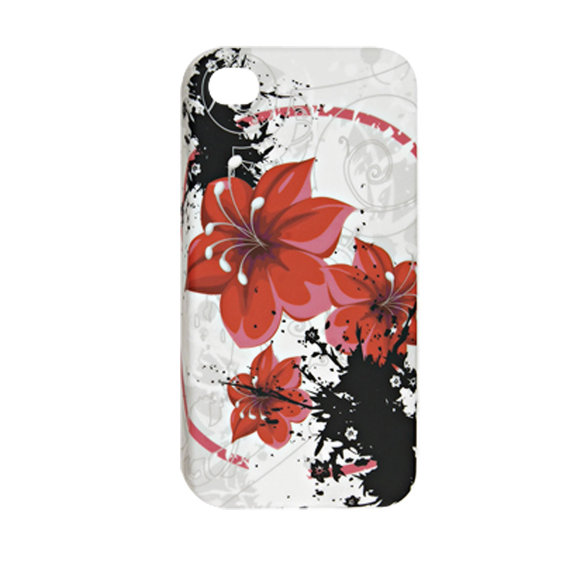 Red Flower Pattern Rubberized Plastic Back Cover for iPhone 4 4G