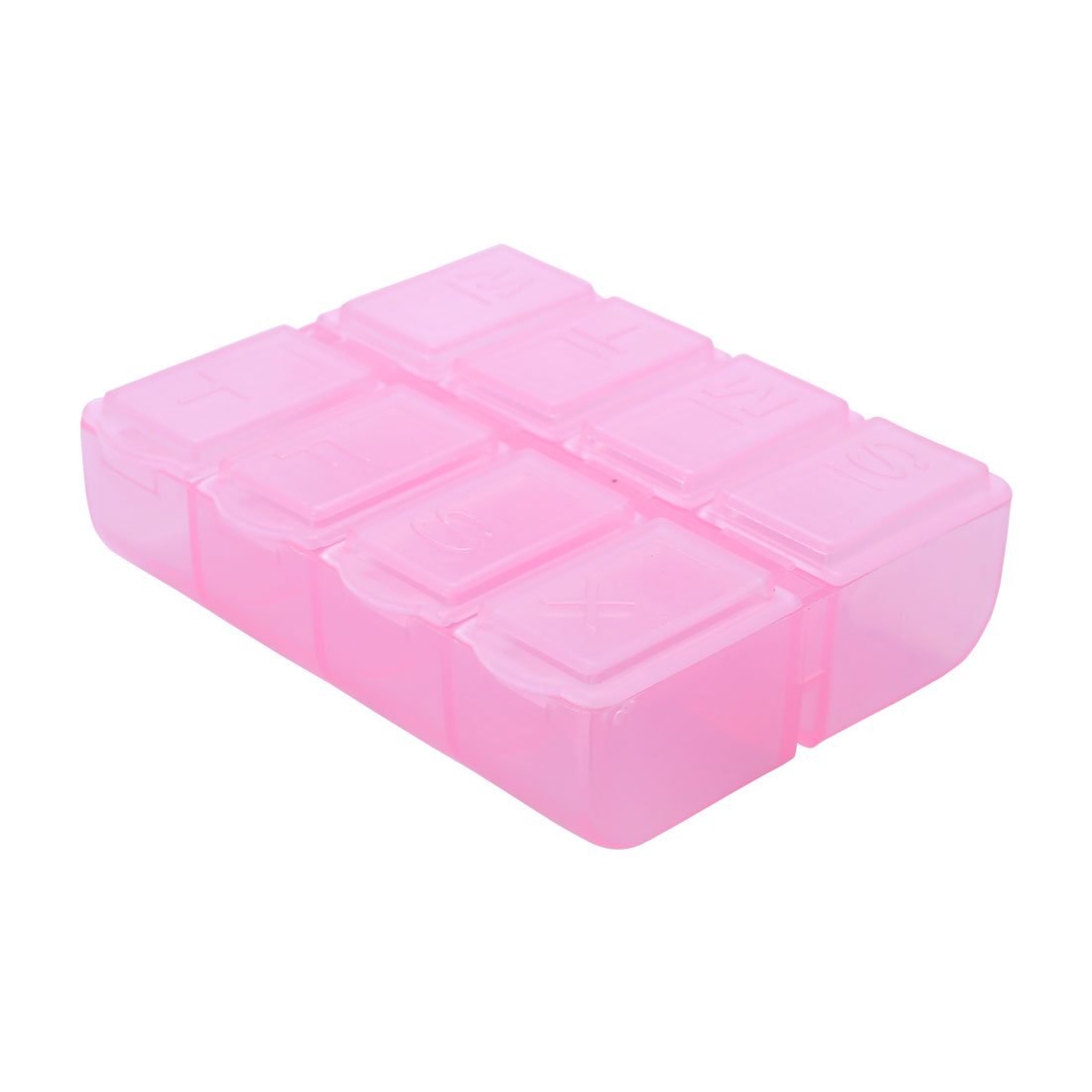 Clear Pink Plastic 8 Compartment Capsules Pill Organizer Box Case