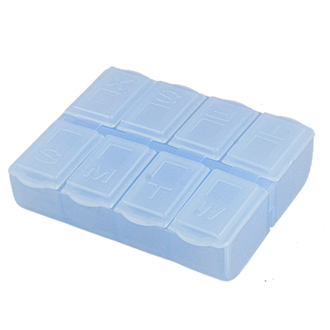 Daily Marked Clear Blue 8 Compartments Medicine Pill Case Box