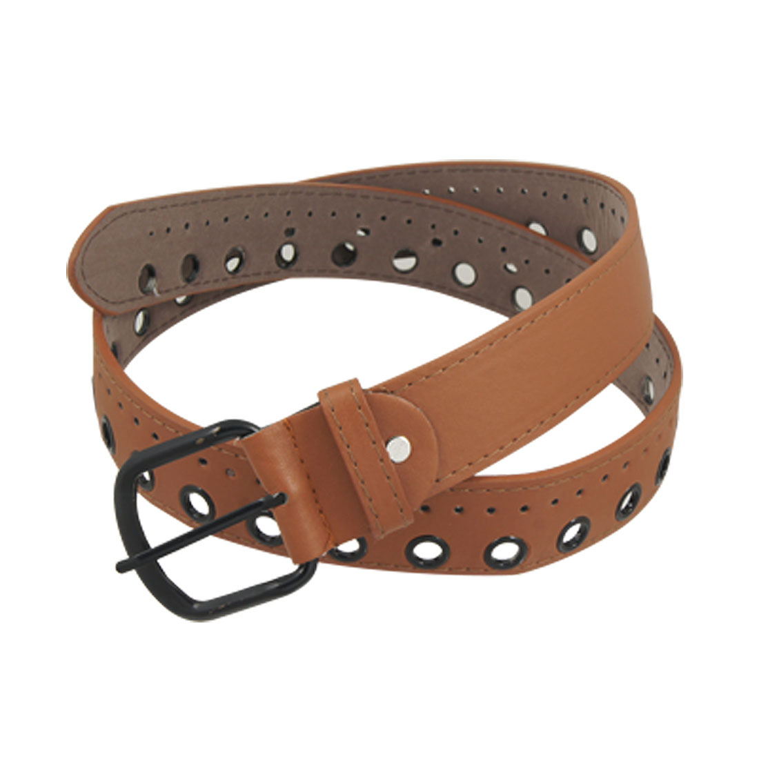 Lady Brown Faux Leather Stitched Rim Black Pin Buckle Waist Belt