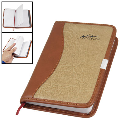 Stitching Side Brown Faux Leather Cover Journal Notebook