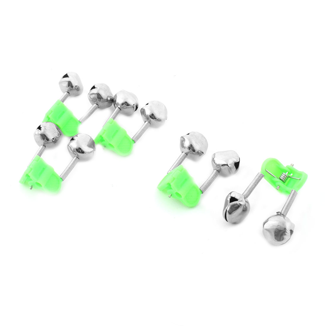 5 Pcs Green Plastic Clip Metal Dual Rod Fishing Bell