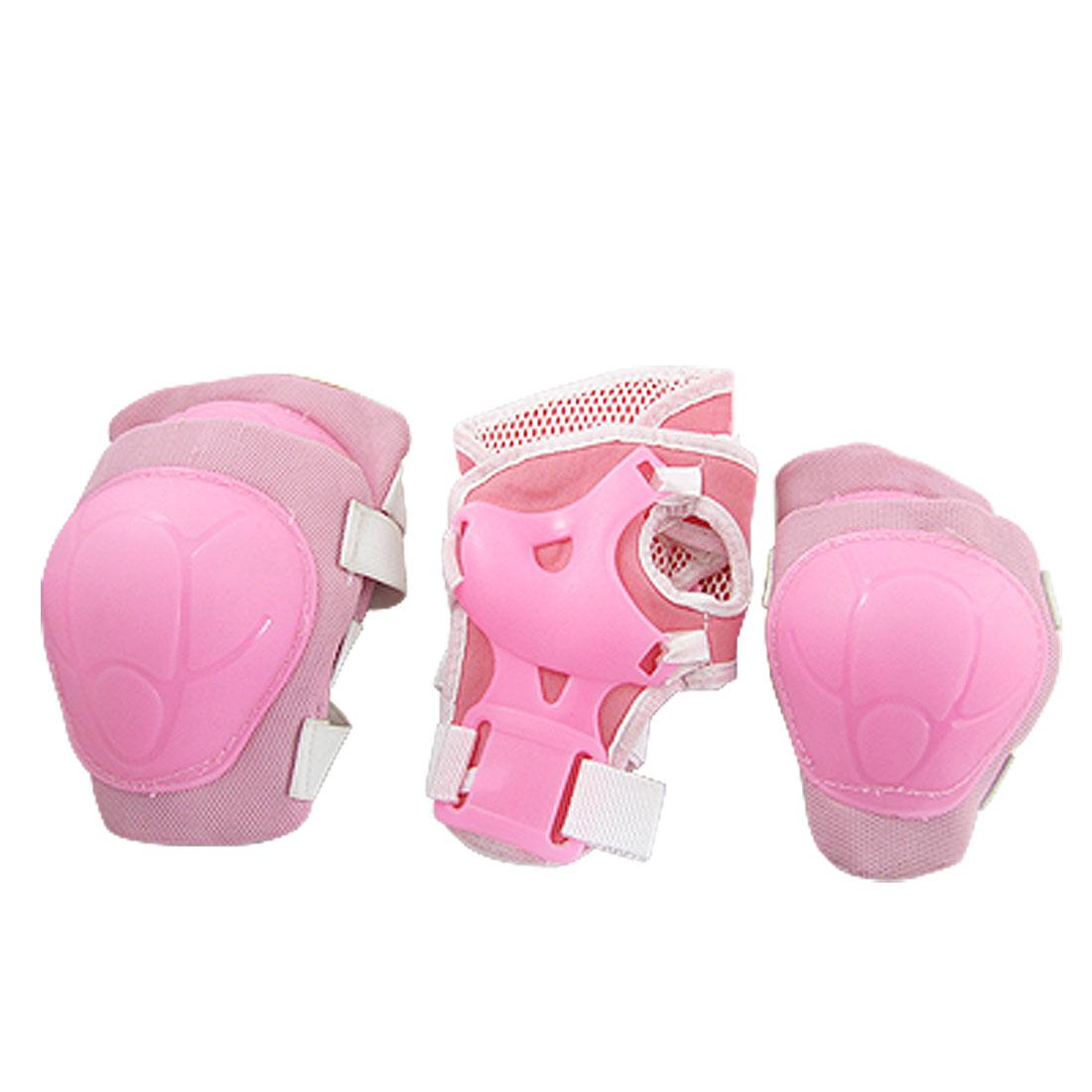 Children Pink Wrist Elbow Knee Pad Sports Support Set