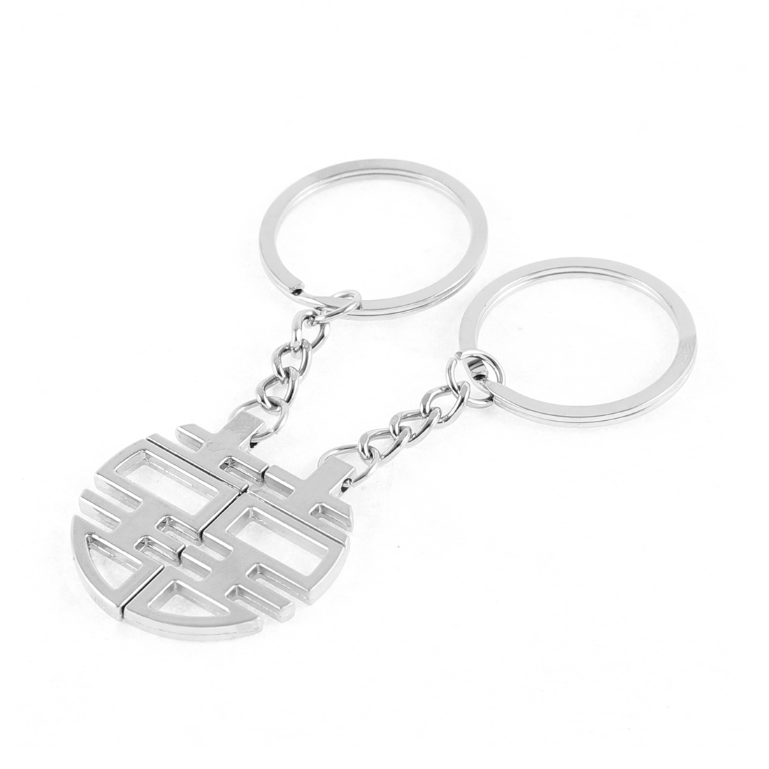 Silver Tone Double Happiness Character Pendant Magnetic Keychains