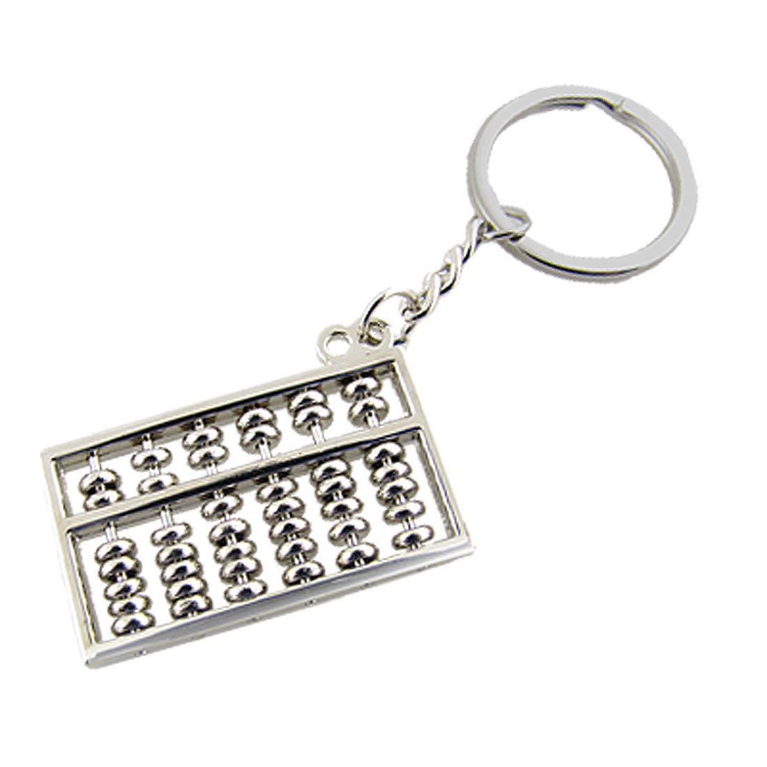 Silver Tone Metal Abacus Pendant Keyring Keychains